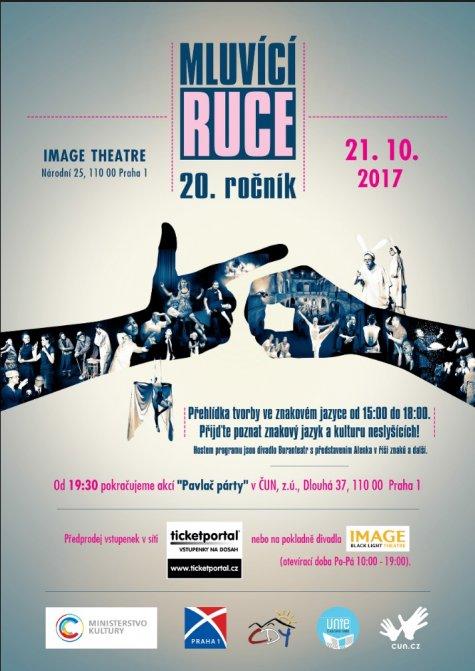 plakát XX. ročníku festivalu Mluvicí ruce 2017